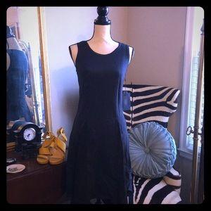 Unique asymmetrical hem fit and flare dress